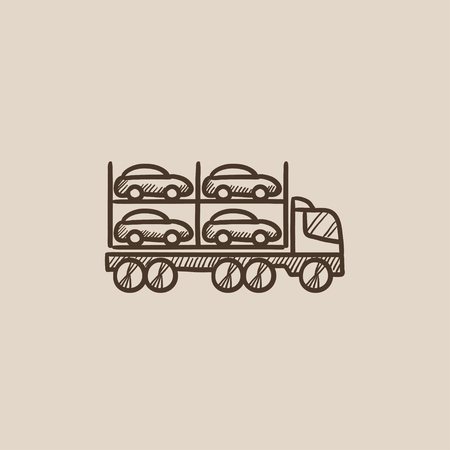 Car carrier sketch icon for web, mobile and infographics. Hand drawn vector isolated icon. Illustration