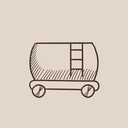 cisterna: dibujo icono de tren cisterna para web, m�vil y la infograf�a. aislado vector dibujado a mano icono.