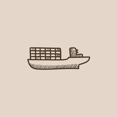 navy pier: Cargo container ship sketch icon for web, mobile and infographics. Hand drawn vector isolated icon.