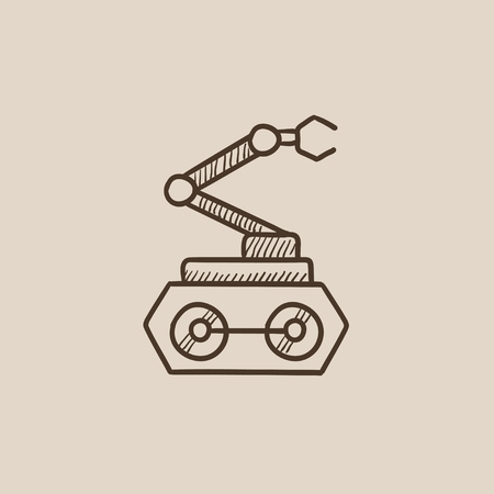 conveyor system: Industrial mechanical robot arm sketch icon for web, mobile and infographics. Hand drawn vector isolated icon.