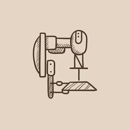 automated: Industrial automated robot sketch icon for web, mobile and infographics. Hand drawn vector isolated icon.