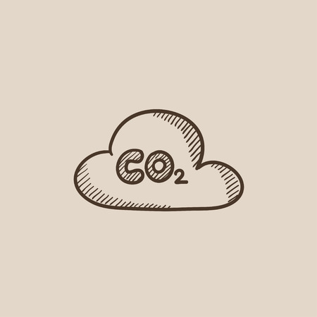 CO2 sign in cloud sketch icon for web, mobile and infographics. Hand drawn vector isolated icon. 向量圖像