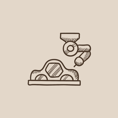 assembly line: Automated assembly line for cars sketch icon for web, mobile and infographics. Hand drawn vector isolated icon.