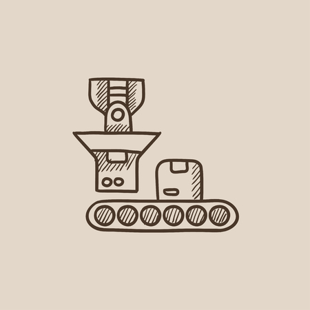 Cardboard box on conveyor belt sketch icon for web, mobile and infographics. Hand drawn vector isolated icon. Ilustração