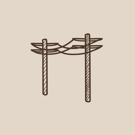 High voltage power lines sketch icon for web, mobile and infographics. Hand drawn vector isolated icon.