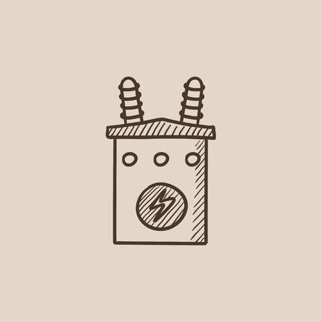 Haute tension icône transformateur de croquis pour le Web, mobile et infographies. Main vecteur tracé icône isolé. Banque d'images - 54578844
