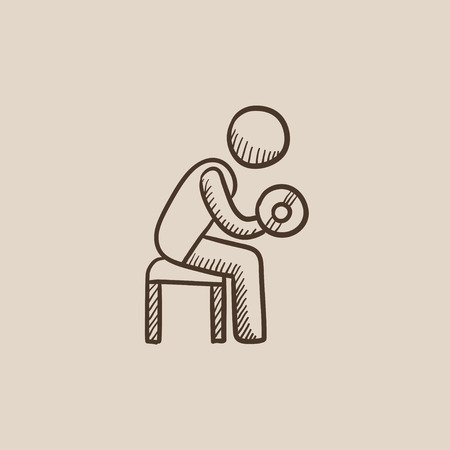 hand with dumbbells: Man exercising with dumbbells sketch icon for web, mobile and infographics. Hand drawn vector isolated icon. Illustration