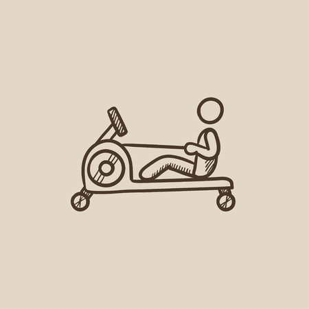 apparatus: Man exercising with gym apparatus sketch icon for web, mobile and infographics. Hand drawn vector isolated icon.