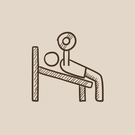 Man lying on bench and lifting barbell sketch icon for web, mobile and infographics. Hand drawn vector isolated icon.