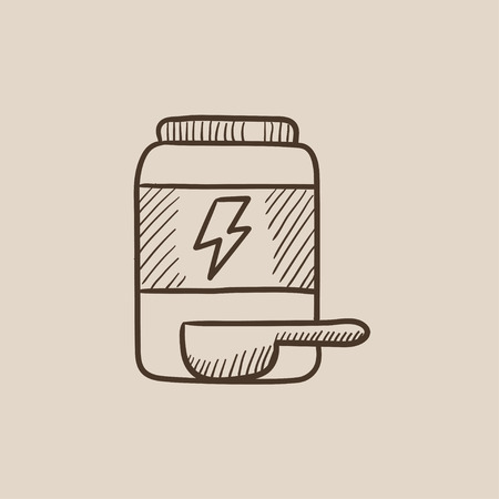 supplementation: Sport nutrition container sketch icon for web, mobile and infographics. Hand drawn vector isolated icon.