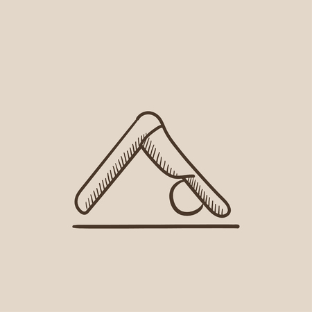 facing: A man standing in yoga downward facing dog pose sketch icon for web, mobile and infographics. Hand drawn vector isolated icon.