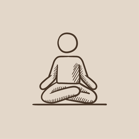 concentrating: A man meditating in lotus pose sketch icon for web, mobile and infographics. Hand drawn vector isolated icon.