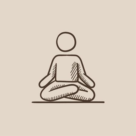 elasticidad: Un hombre meditando en posici�n de loto dibujo icono para web, m�vil y la infograf�a. aislado vector dibujado a mano icono.