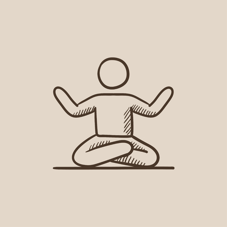 elasticity: A man meditating in lotus pose sketch icon for web, mobile and infographics. Hand drawn vector isolated icon.