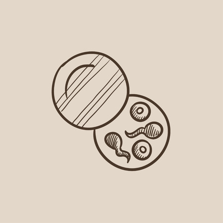 reproductive technology: Donor sperm sketch icon for web, mobile and infographics. Hand drawn vector isolated icon. Illustration