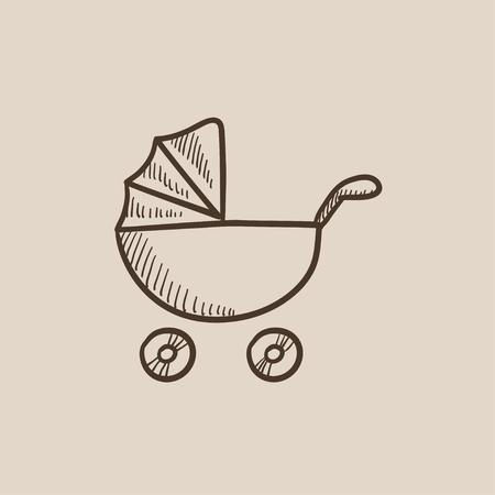 Baby-Kinderwagen Skizze Symbol für Web, Mobile und Infografiken. Hand gezeichnet Vektor isoliert Symbol. Vektorgrafik