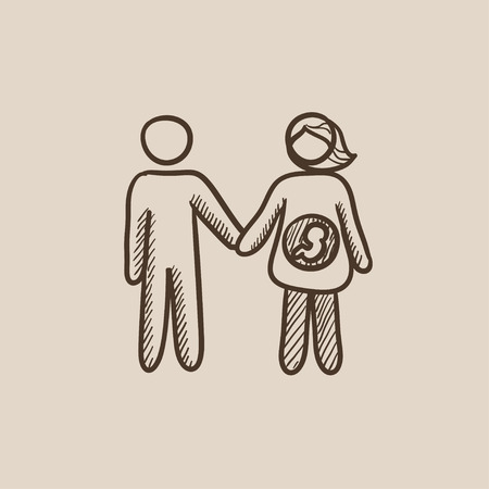 wife: Husband with pregnant wife sketch icon for web, mobile and infographics. Hand drawn vector isolated icon.