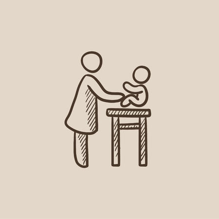 Woman taking care of the baby sketch icon for web, mobile and infographics. Hand drawn vector isolated icon. 向量圖像