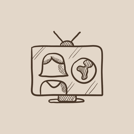 report icon: TV report sketch icon for web, mobile and infographics. Hand drawn vector isolated icon.