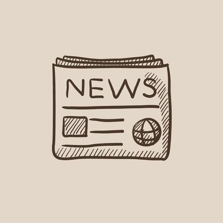 newspaper headline: Newspaper sketch icon for web, mobile and infographics. Hand drawn vector isolated icon.