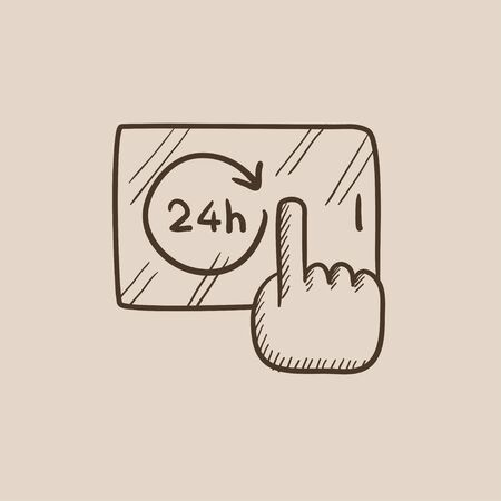 touchscreen: Finger touching 24 hours service button on a touchscreen sketch icon for web, mobile and infographics. Hand drawn vector isolated icon. Illustration