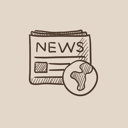 newspaper headline: International newspaper sketch icon for web, mobile and infographics. Hand drawn vector isolated icon. Illustration