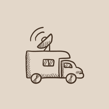 news van: Broadcasting van sketch icon for web, mobile and infographics. Hand drawn vector isolated icon.