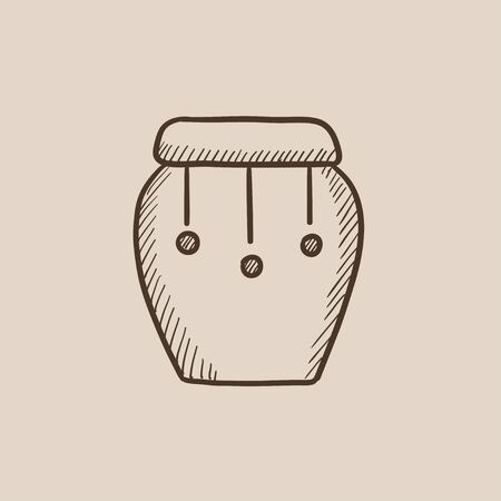 hand beats: Drum instrument sketch icon for web, mobile and infographics. Hand drawn vector isolated icon.