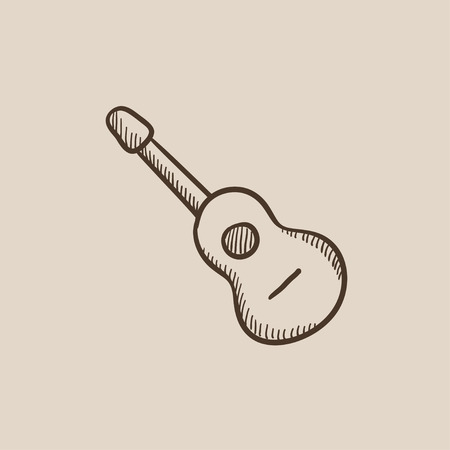 strum: Acoustic guitar sketch icon for web, mobile and infographics. Hand drawn vector isolated icon.