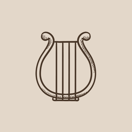 lyre: Lyre sketch icon for web, mobile and infographics. Hand drawn vector isolated icon.