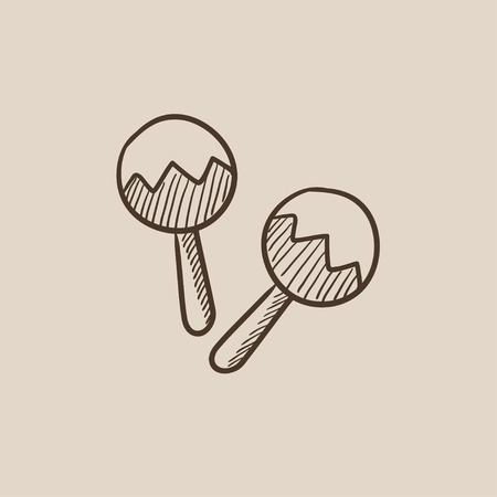 Maracas sketch icon for web, mobile and infographics. Hand drawn vector isolated icon.