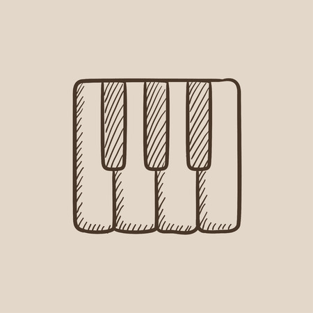 Piano keys sketch icon for web, mobile and infographics. Hand drawn vector isolated icon.