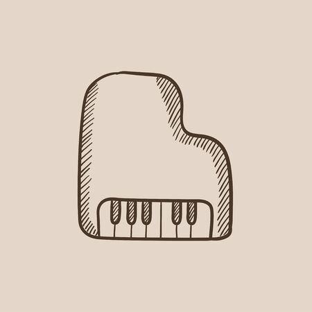 pianoforte: Piano sketch icon for web, mobile and infographics. Hand drawn vector isolated icon. Illustration