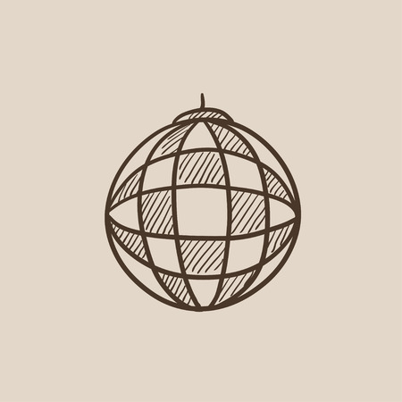 mirrorball: Disco ball sketch icon for web, mobile and infographics. Hand drawn vector isolated icon.