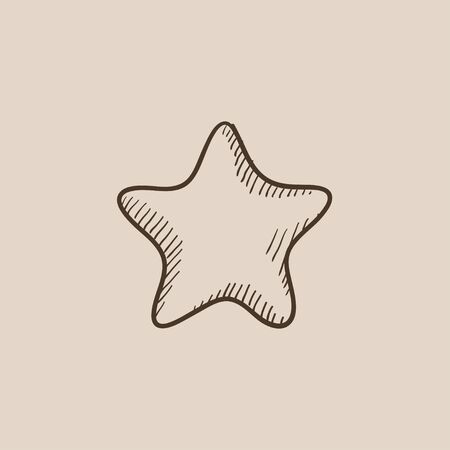 Rating star sketch icon for web, mobile and infographics. Hand drawn vector isolated icon.