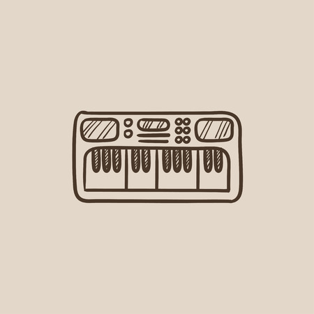 synthesizer: Synthesizer sketch icon for web, mobile and infographics. Hand drawn vector isolated icon.