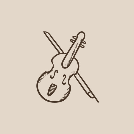 fiddlestick: Violin with bow sketch icon for web, mobile and infographics. Hand drawn vector isolated icon.