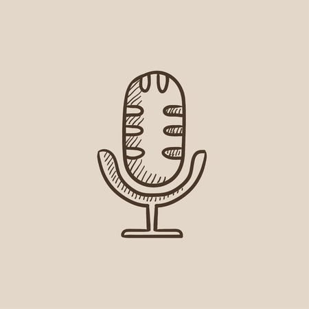 Retro microphone sketch icon for web, mobile and infographics. Hand drawn vector isolated icon. Illusztráció