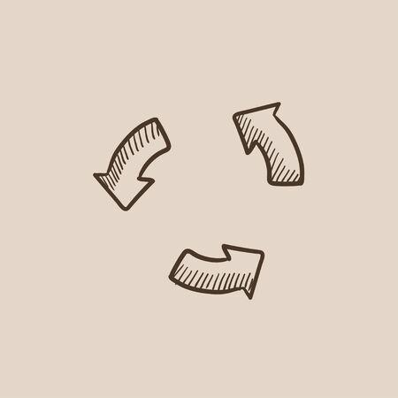웹, 모바일 및 infographics에 대한 재생 단추 스케치 아이콘. 손으로 그려진 된 벡터 격리 아이콘입니다. 일러스트