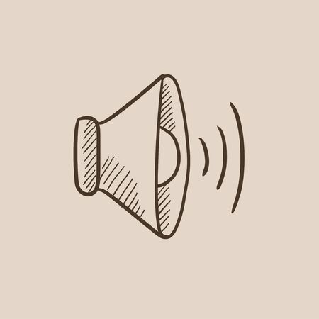 Speaker volume sketch icon for web, mobile and infographics. Hand drawn vector isolated icon.