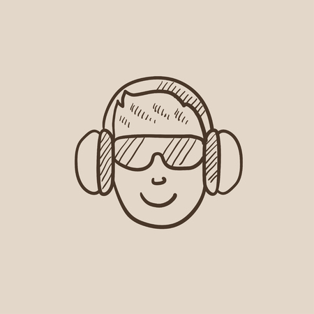 Man in headphones sketch icon for web, mobile and infographics. Hand drawn vector isolated icon. Ilustração