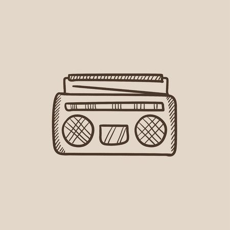 Radio cassette player sketch icon for web, mobile and infographics. Hand drawn vector isolated icon.
