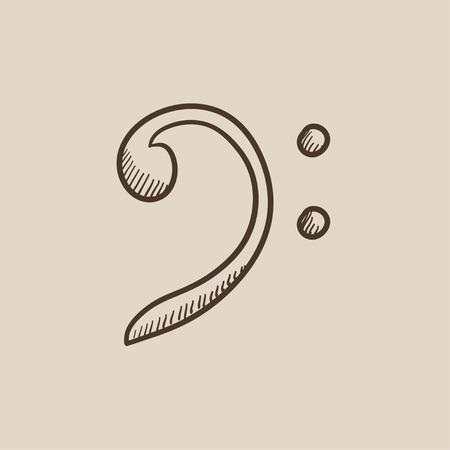clave de fa: Bajo icono de boceto clave para web, m�vil y la infograf�a. aislado vector dibujado a mano icono.