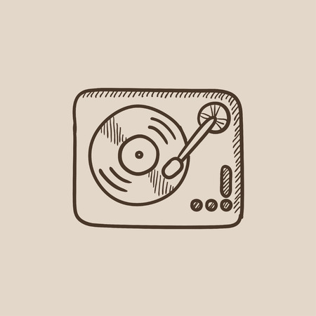 Turntable sketch icon for web, mobile and infographics. Hand drawn vector isolated icon. 向量圖像