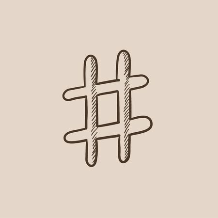 microblogging: Hashtag symbol sketch icon for web, mobile and infographics. Hand drawn vector isolated icon.
