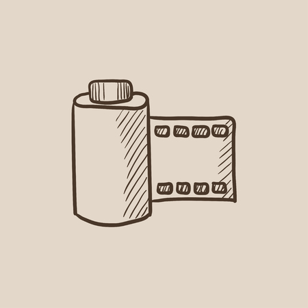 multimedia icons: Camera roll sketch icon for web, mobile and infographics. Hand drawn vector isolated icon.