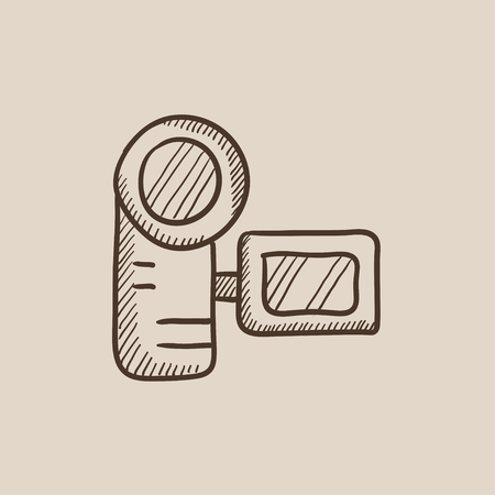 multimedia icons: Digital video camera sketch icon for web, mobile and infographics. Hand drawn vector isolated icon. Illustration
