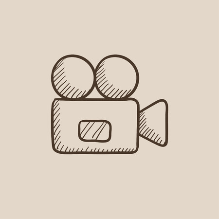 cine: Video camera sketch icon for web, mobile and infographics. Hand drawn vector isolated icon.
