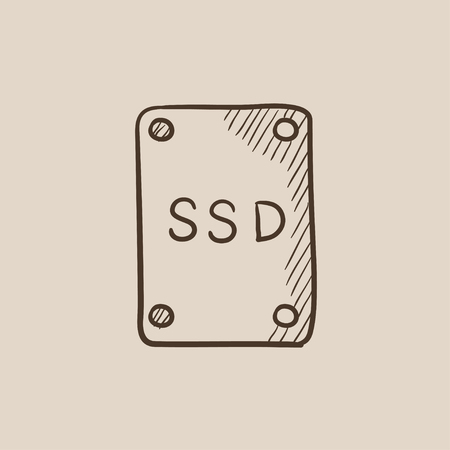 solid state drive: Solid state drive sketch icon for web, mobile and infographics. Hand drawn vector isolated icon.
