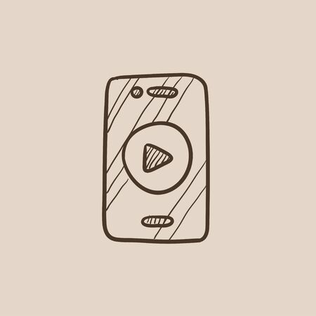 Smartphone with play button on a screen sketch icon for web, mobile and infographics. Hand drawn vector isolated icon.